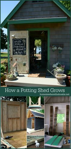 Growing a Potting Shed from the ground up with exterior inspiration from Country Gardens magazine. A blend of new and salvage materials, galvanized sheet metal counters, chalkboard door, and windows dressed with landscaping burlap! #gardening #pottingshed