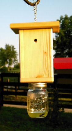 Wood Carpenter Bee trap/Hornet trap by ChrismanMillFarmsLLC Wasp Traps, Bee Traps, Custom Woodworking, Woodworking Projects Plans, Wood Bee Trap, Hornet Trap, Bee Catcher, Wasp Catcher, Carpenter Bee Trap