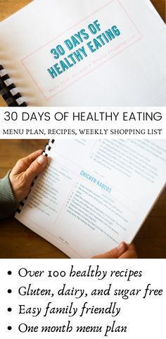 Get this 30 days of healthy eating guide to make clean eating easier. It comes with a full menu plan over 100 recipes and a weekly shopping list. Printable menu plan and grocery checklist. Healthy Menu Plan, Healthy Eating Guide, Easy Clean Eating Recipes, Healthy Cooking, Healthy Food, Clean Eating Challenge, Clean Eating Meal Plan, Grocery Checklist, Healthy Packed Lunches