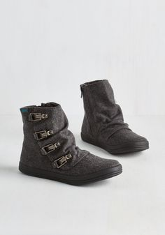 Hustle and Buckle Bootie in Charcoal. Hit the ground stunning in these charcoal grey booties by Blowfish! #grey #modcloth