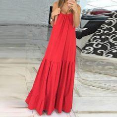 VONDA Bohemian Dress Women 2019 Summer Sexy Sleeveless Spaghetti Strap Ruffle Swings Maxi Long Dresses Holiday Vestido Plus Size Nice Dresses, Casual Dresses, Plus Size Dresses, Fashion Dresses, Long Dresses, Dresses Dresses, Awesome Dresses, Women's Casual, Dresses Online