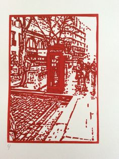 Lino print.....first colour of a reduction Lino print.....might creat a series based on my European travels.