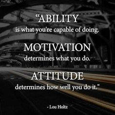 Ability is what you're capable of doing.  Motivation determines what you do.   Attitude determines how well you do it.