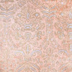 Peach/Victorian Gold/Silver Damask Velvet Fabric by the Yard | Mood Fabrics