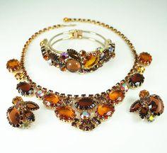 Vintage Necklace Bracelet Earrings Juliana Amber by zephyrvintage on Etsy, $275.00