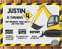 Under Construction Birthday Party, Construction Invitation, Tools Invitation, Dump Truck, Boys Party, Construction, Tool, Instant Download