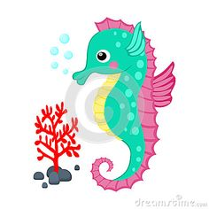 Cute cartoon seahorse and red coral branch vector illustration Tropical sea life theme illustration Cartoon sea creatures vector g