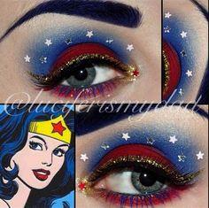 Awesome for my Wonder Woman Halloween costume. Wonder Woman Birthday, Wonder Woman Party, Makeup Eye Looks, Eye Makeup, Costume Makeup, Party Makeup, Wonder Woman Makeup, Sugarpill Cosmetics, Maquillaje Halloween