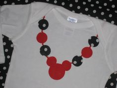 Black and Red Mickey Mouse Necklace onesie - I think I could make this!