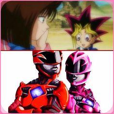 Yugi & Tea (Yu-Gi-Oh!) + Jason & Kimberly (Power Rangers) = Love Forever. #collage #red #pink #love #powerrangers #2017 #redranger #jasonleescott #pinkranger #kimberlyhart #yugioh #anime #yugimutou #teagardner