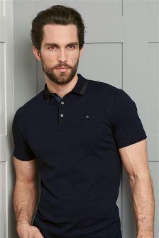 Navy Premium Textured Collar Poloshirt