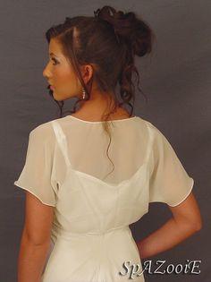 Ivory chiffon wedding bolero jacket bridal short by SpAZooiEBridal, $26.50