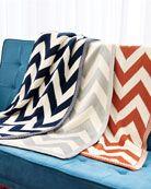 love this lightweight chevron knit throw. blanket available in navy, gray, pumpkin orange.