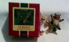 Vintage Hallmark Ornament  Raccoon with Bells  by JylMilnerCreates, $15.00