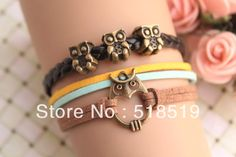 12PCS/LOT!Free Shipping!Retro Alloy Owl Leather Suede Cuff Bracelet Multilayer Charm Fashion Women Costume Jewelry A-672 $17.26