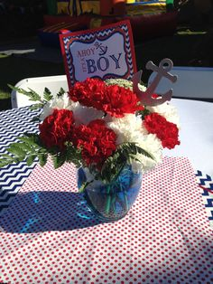 Baby shower centerpiece, nautical theme! Ahoy it's a Boy!