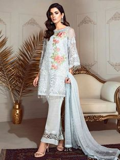 Elegant sky blue partywear straight cut suit online which is crafted from georgette fabric with exclusive embroidery work. This stunning designer straight cut suit comes with santoon bottom and chiffon with heavy work dupatta. Pakistani Formal Dresses, Pakistani Dress Design, Pakistani Suits, Indian Dresses, Indian Outfits, Designer Formal Dresses, Formal Dresses For Weddings, Party Wear Dresses, Casual Dresses