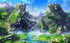 Fantasy Landscape -All credit to the orginal artist- Fantasy Art Landscapes, Fantasy Landscape, Beautiful Landscapes, Fantasy Places, Fantasy World, Tuscany Landscape, Fantasy Kunst, Environment Concept, Anime Scenery