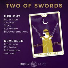 Learn the Tarot card meanings with Biddy Tarot | Two of Swords | Minor Arcana | Everyday Tarot #tarot