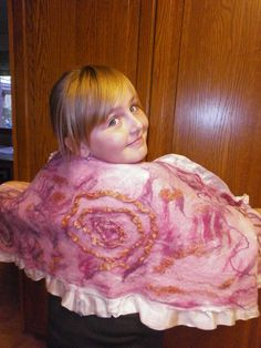 My daughter Maria-Angelina as a model. Nuno felted scarf