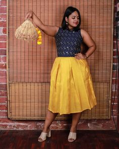 Mustard yellow pleated midi skirt goes well with a contrasting crop top.  Shop 👉 www.beuntouched.com  #brocade #brocadeskirt #pleatedskirt #midiskirt #pleatedmidiskirt #mustardyellowskirt #mustardskirt #beuntouched #untouched Mustard Yellow Skirts, Mustard Skirt, Colour Blocking Fashion, Heavy Clothing, Wedding Rituals, Pleated Midi Skirt, 50 Shades, Sustainable Fashion, Indian Fashion