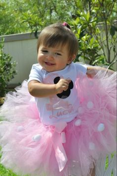 1st Birthday Minnie Mouse tutu pink I did it expression baby girl. One