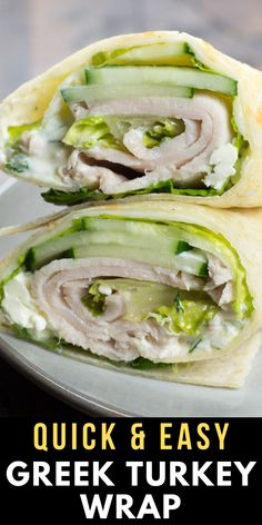 Easy Greek Turkey Wrap This Healthy Turkey Wrap Recipe can be made in less than 10 minutes! Packed with lean turkey meat, thinly sliced cucumber, tzatziki and feta cheese! You will love the Greek flavors in this healthy, easy wrap recipe! Turkey Wrap Recipes, Turkey Wraps, Healthy Foods To Make, Good Healthy Recipes, Health Recipes, Healthy Meals, Healthy Lunch Wraps, Healthy Turkey Recipes, Delicious Meals