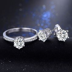 2016 R&J Top Wedding Jewelry Sets for Brides 925 Sterling Silver rings 5A Zircon CZ Engagement Stud Earrings Ring Jewelry Set