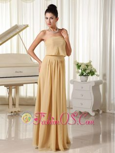 Champagne Empire For Simple Homecoming Dress Chiffon Zipper-up    http://www.fashionos.com  Simple and permanent. This long prom dress features a strapless bodice without any other decorations creating a smooth look. The floor length skirt flares out from the waist to the floor that adds your elegance and charm. A zipper up closure makes the dress for easy off and on. Who wouldn't love the dress?