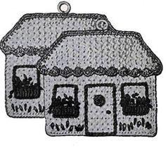 Cottages Pot Holder Pattern--free vintage crochet pattern