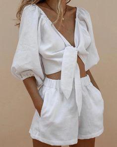 V-Neck Knotted Lantern Sleeve Shirt Shorts Suit – Bellezaka Look Fashion, Daily Fashion, Fashion Beauty, Fashion Outfits, Womens Fashion, Fashion Tips, Korean Fashion, Young Fashion, Looks Style