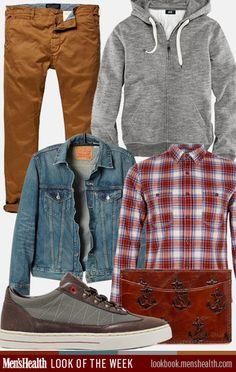 The perfect look your weekend errands. Denim jacket: Levi's Wallet: Jack Spade Hoody: H&M Shirt: Topman Sneaker: Clae Chinos: Scot...
