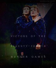Katniss Everdeen and Peeta Melark the victors and the star crossed lovers(: