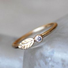 Diamond and Gold Wedding Ring  14k Leaf and Bud by LilianGinebra, $429.00