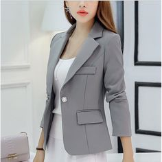 $18.50 with Free shipping, this single button long sleeve office jacket new arrival is here.