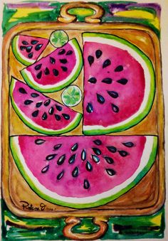 Plate with Watermelons and lemmon. Watercolour on Gvarro. 11 in X 15 in. Rivera Fernández 2016