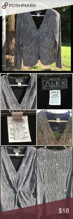 """Super Nice & Sparkly Top, Petite Kind of a black & white glitter brindle fabric. Heavy for a blouse, shoulder pads, lined, stretchy. Lots of boob room. Measurements: shoulders 16"""" sleeves 22.5"""" Pit2pit 19"""" waist 17"""" length 22.5"""". Tags reads PXL Alex Evenings Tops Blouses"""