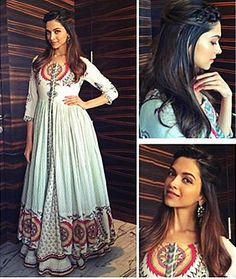 Deepika Padukone's Instagram feed is actually her fashion diary. Lately, it's been a style watcher's delight with a complete log of all her looks from publicity duty for Tamasha. This one is her latest entry from Chandigarh - a white anarkali outfit printed with red and ochre.This image was posted on Instagram by  Deepika Padukone