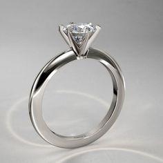 Anillo Moderno de Diamante Solitario 1/2 qt en Oro Blanco 14k