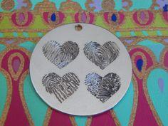 NEW Four Fingerprints As Hearts Pendant Necklace!