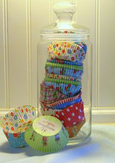 Allison thought of you and your future bakery. Cute way to decorate ir. Pretty way to display cupcake liners