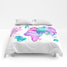 Modern world map globe bright watercolor paint Comforters