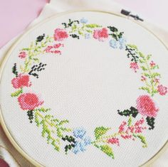 Initial Cross stitch pattern PDF - Floral wreath with Alphabet - http://etsy.me/2bugRZt