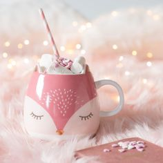 Pink and White Porcelain Fox Mug on Maisons du Monde. Take your pick from our furniture and accessories and be inspired! Disney Coffee Mugs, Cute Coffee Mugs, Cool Mugs, Coffee Cups, Diy Becher, Café Chocolate, Cute Cups, Pink Christmas, Mug Cup