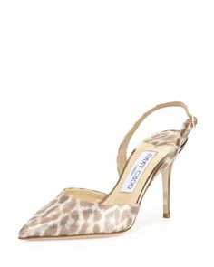 Tilly Leopard-Print Slingback Pump, Light Gold by Jimmy Choo at Neiman Marcus.