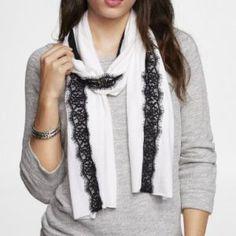 Lace Panel Knit Oblong Scarf