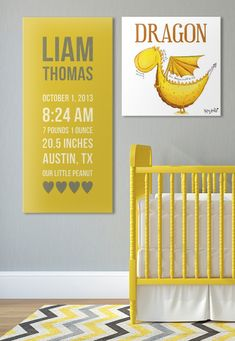 LOVE this for a #nursery! I'm loving the dragons and the custom #canvas