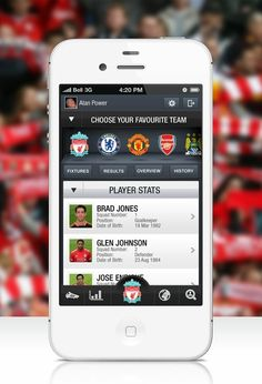 Football iPhone App Design - Mobile Interface