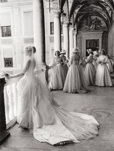 Grace Kelly and her bridesmaids, April 19, 1958. Photographed by Howell Conant  I love this.