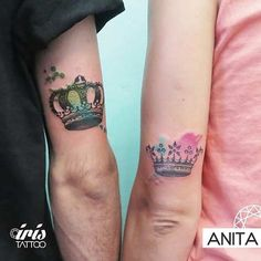 King & Queen Watercolor Tattoos